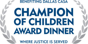 This is a photo of the Champion of Children silver logo