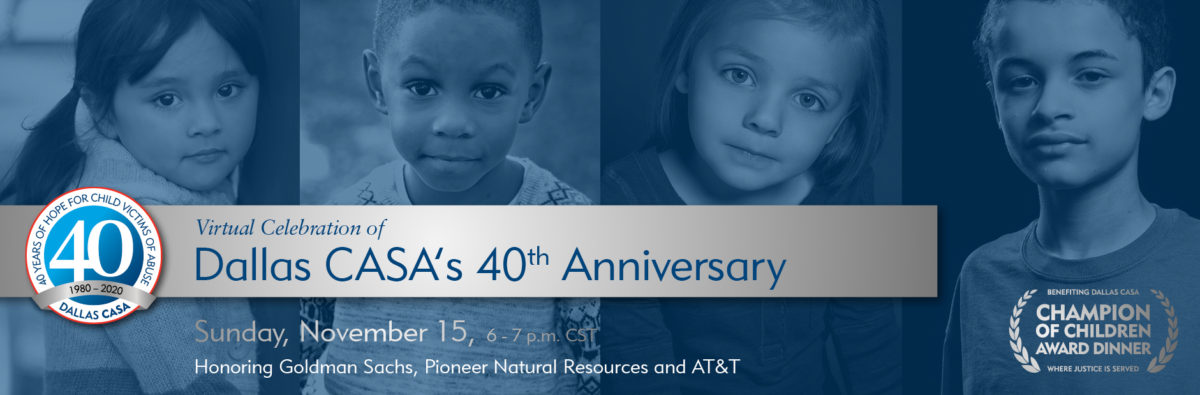 This is an image of the Dallas CASA 40th Anniversary banner
